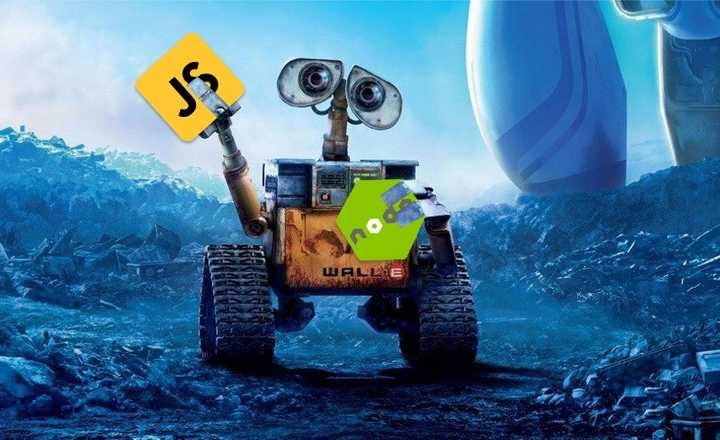 WALL-E holding logos of node and javascript in his hands